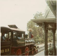 All aboard!  Disneyland Railroad, 1970. Photo by my mother.