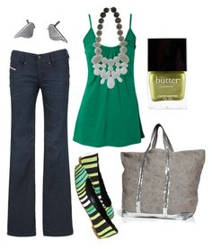 """""""kiwi"""" by htotheb ❤ liked on Polyvore featuring Diesel, Vanessa Bruno, Butter London, Tapeet by Vicini, stripes, grey and green"""