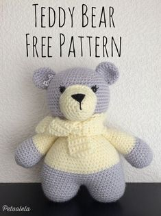 Free Crochet Bear Patterns,Bear Amigurumi Crochet Pattern-I have rounded up a huge list of free crochet teddy bear patterns for you to get inspired by these cute and soft teddy bears. You could absolutely make them with your own crochet hooks. Crochet Teddy Bear Pattern Free, Teddy Bear Patterns Free, Crochet Animal Patterns, Stuffed Animal Patterns, Crochet Patterns Amigurumi, Baby Patterns, Crochet Toys, Free Pattern, Free Crochet