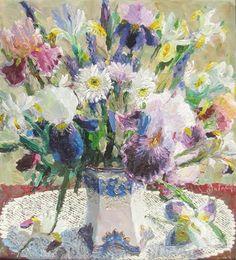 Victor Zundalev (b.1953) — Bouquet of Irises (559x650)