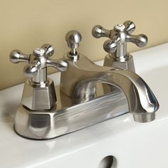 Auberee Centerset Lavatory Faucet with Metal Cross Handles