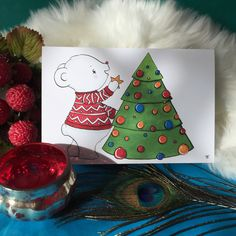 New to PlayfulStories on Etsy: Polar Bear Decorating the Tree Christmas Card (2.50 GBP)