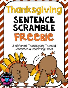 Thanksgiving Sentence Scramble FREEBIE Sentence scrambles taking a sentence and mixing up the word order are GREAT activities for (ELL) English Language Learners. There are 3 Thanksgiving themed sentences that have to be unscrambled! Speech Activities, Speech Therapy Activities, Thanksgiving Activities, Kindergarten Thanksgiving, Thanksgiving Writing, Thanksgiving Quotes, Thanksgiving Appetizers, Holiday Activities, Word Order