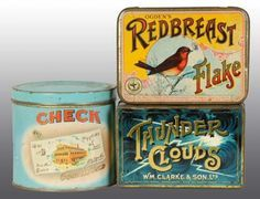 3 Tobacco tin boxes Check, Redbreast Flake, Taunder Clouds