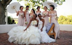 Wedding Concepts - South Africa real life weddings want parasols. Brides And Bridesmaids, Bridesmaid Dresses, Wedding Dresses, Pink Dresses, Wedding Attire, New Years Wedding, Dream Wedding, Summer Wedding, African American Weddings