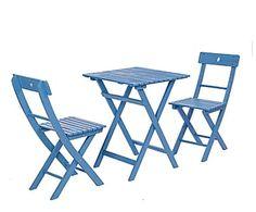 Set de mesa y 2 sillas de madera y metal Balcony – azul