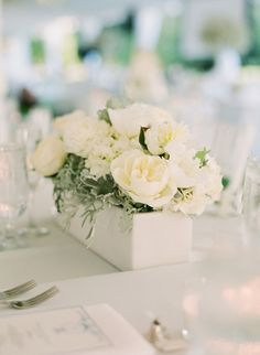 White and Cream Flowers in Wooden Box Centerpiece 1