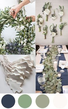 A Christmas Colour Palette - Indigo, Sage & White to inspire a Summer Christmas with a modern twist. Use greenery with indigo linens and white crockery.