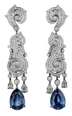 Sapphire and diamond earrings by #Cartier