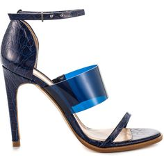 Mode Collective Women's Vinyl Triple Strap - Navy Allgtr Blue (€54) ❤ liked on Polyvore featuring shoes, sandals, blue, ankle tie sandals, navy blue sandals, navy blue shoes, blue sandals and navy blue high heel shoes