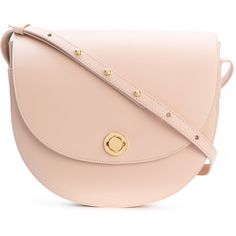 Mansur Gavriel saddle bag (£825) ❤ liked on Polyvore featuring bags, handbags, shoulder bags, pink, pink purse, nude purses, leather saddle bag handbags, real leather shoulder bags and leather purses