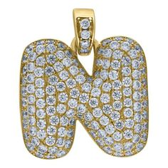 """Yellow Gold Iced Out Cubic Zirconia Mens Womens Bubble Initial Letter """"N"""" Charm PendantItem Number - from Yellow GoldWidth: inches ; Length: inchesGift box Yellow Gold Iced Out Cz Mens Womens Bubble Initial Letter """"N"""" Charm Pendant Letter N, Initial Letters, Letter Pendants, Sophisticated Style, Initials, Bubbles, Charmed, Yellow, Metal"""