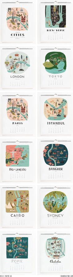 Cities Calendar 2013 by Rifle Paper Co. featured on FOXINTHEPINE.COM
