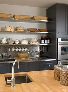 charcoal cabinets wood countertop - Google Search
