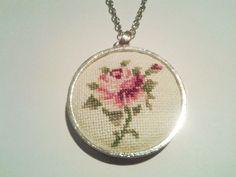 Rose cross stitch necklace