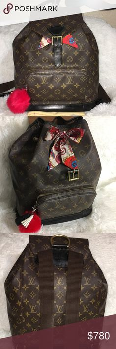 Sold 🅿 🅿 Louis Vuitton Montsouris GM backpack Authentic! I painted the  vachetta f4dd42df4076a
