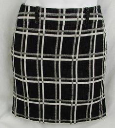 Ann Taylor Petites Skirt Size 0 0P Petite Black White Plaid Print Cotton Linen #AnnTaylor #StraightPencil