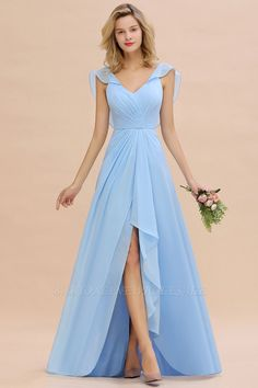 Modest Hi-Lo V-Neck Ruffle Long Bridesmaid Dress with Slit - Looking for a gracefull blue long bridesmaid dress? Bmbridal custom made you multiple affordable bridesmaid dress with 50 colors. Bridesmaid Dresses Long Blue, Cheap Bridesmaid Dresses Online, Lace Bridesmaid Dresses, Cheap Prom Dresses, Formal Dresses, Beautiful Dresses, Lace Dress, Shifon Dress, Fashion Dresses