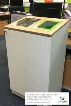 Set up a small office recycling solution - this one has one waste stream for Dry Mixed Recycling and one for General Waste (which goes to landfill). You can even add a backboard for really clear signage. Call us on 0845 0700 624 Indoor Recycling Bins, Cardboard Recycling Bins, Waste Segregation, Recycling Station, Recycling Information, Junk Mail, Small Office, Signage, Canning