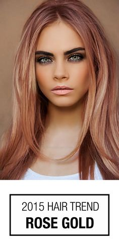 Love the color -Rose Gold Hair Color! This hair color trend isn't just for blondes. How could you not love this perfect blend of pinkish copper hues? Love Hair, Great Hair, Gorgeous Hair, Amazing Hair, 2015 Hair Color Trends, Hair Trends, 2015 Hairstyles, Cool Hairstyles, Casual Hairstyles