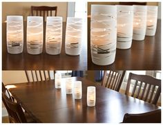 Make your own candle holders with just glasses, rubber bands and spray paint. Cute DIY project!