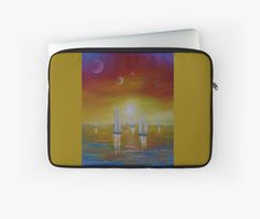 Laptop Sleeve,  unique,cool,fancy,beautiful,trendy,artistic,awesome,unusual,fashionable,accessories,gifts,presents,ideas,design,items,products,for sale,colorful,sailboats,nautical,sunset,redbubble
