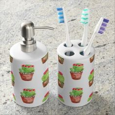 Watercolor Cactus Pattern Illustration Soap Dispenser And Toothbrush Holder - pattern sample design template diy cyo customize