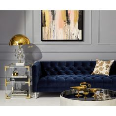 Get inspired by these luxury living room design ideas. Living Room Grey, Interior Design Living Room, Living Room Designs, Blue Living Room Furniture, Blue Velvet Sofa Living Room, Blue And Gold Living Room, Baxter Sofa, Dressing Design, Luxury Home Decor