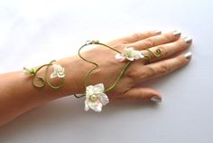 wedding flower fairy slave bracelet arm cuff Heart shape white flower and vine bride bridesmaid bouquet corsage, £22.99