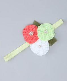 Another great find on #zulily! Green & White Flower Headband by The Bow Band #zulilyfinds