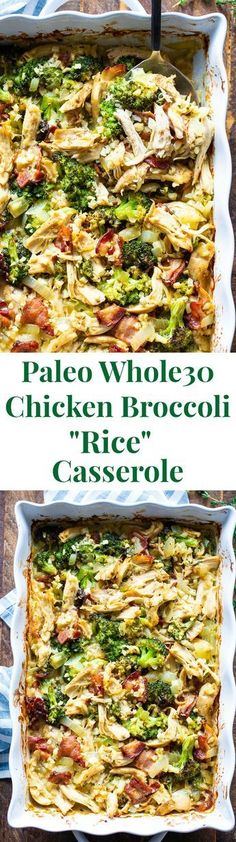 This creamy paleo chicken broccoli and rice casserole is packed with flavor and filling in the best way! Its compliant keto dairy free and perfect to make ahead of time for easy lunches and dinners. This creamy paleo ch Dairy Free Recipes, Paleo Recipes, Real Food Recipes, Chicken Recipes, Cooking Recipes, Gluten Free, Lasagna Recipes, Lentil Recipes, Paleo Meals