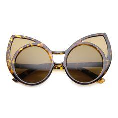 70782b732c3 Women s Trendy Oversize Round Cat Eye Window Sunglasses 9766