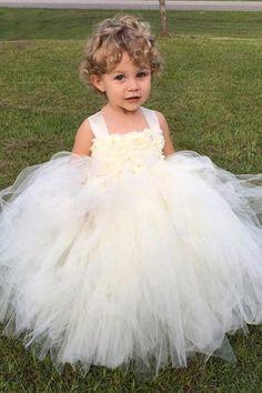 c0020fc54 Ivory Flower Girl Tutu Dress-with matching headpiece-Satin Straps-Wedding  Dress Pageant Dress Toddler Dress Tulle Dress