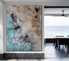 #Watercolor #painting #ArtPrint #AbstractWatercolor #LargeWallArt by #JuliaApostolova #Seascape #Turqoise #Gold #Beach #NauticalDecor '' #Iceland from #Above'' on #Etsy