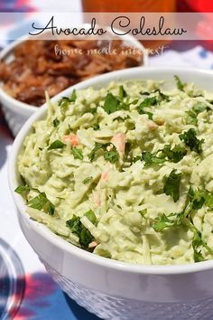This creamy coleslaw is made with fresh guacamole. A healthy change from the mayo and sugar that is usually in coleslaw. Great for BBQs and summer picnics.