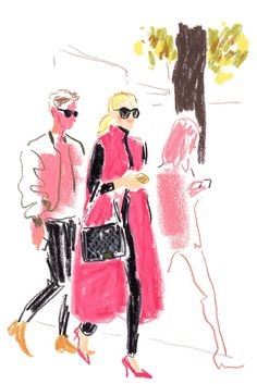 The illustrator Damien Florébert Cuypers draws the faces of the fashion set in the City of Light.