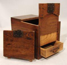 Asian Wooden Boxes   ... boxes/japanese-merchants-chest-zenibako-secret-compartment/id-f_707503