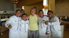 What a fun picture of guest Donna U. with our all-star team at Secrets Aura Cozumel!