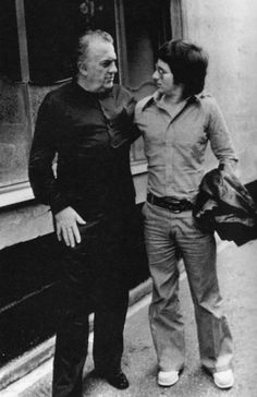 Federico Fellini and young Steven Spielberg, 1973