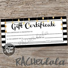 Christmas ho ho ho gift certificate printable instant download black white and gold printable gift certificate template spring direct sales yadclub Choice Image