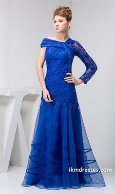 http://www.ikmdresses.com/One-Shoulder-Brush-Sweep-Train-Lace-Organza-Silk-like-Satin-Wedding-Guest-Dress-p21873
