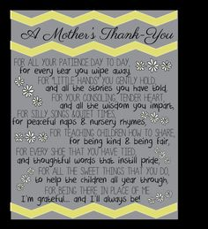 Thank you gift for daycare provider pinteres a mothers thank you by ardentprint on etsy negle Images