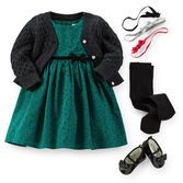 Soft flocked polka dots and a velvet bow make this dress special. A shimmery cardigan and patent Mary Jane shoes complete this dress-up outfit.