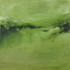 Original art for sale at UGallery.com | Green, Serene by Kajal Zaveri | $1,575 | oil painting | 36' h x 36' w | http://www.ugallery.com/oil-painting-green-serene