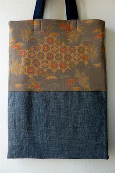 Gris Matsu Rouge Orange Vintage Kimono japonais soie et sac cabas Denim