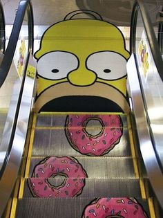 homer-simpson donut escalator floor graphic