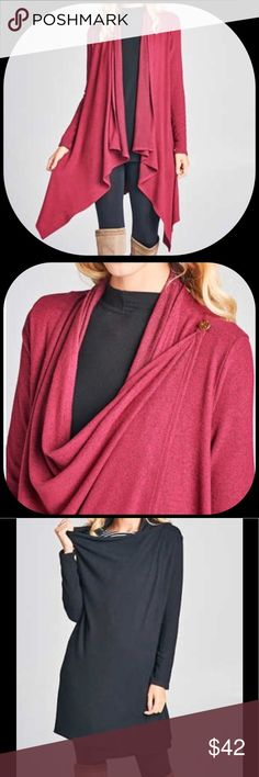 Hacci Brushed Knit Cardigan Two toned soft hacci brush knit cardigan.  Shoulder button lets this soft cardigan be worn open or closed giving a cowl neck detail to keep you warm and cozy!               Made in the USA of 72% Rayon 23% Polyester 5% Spandex.  Only available in the burgundy. Sweaters Cardigans