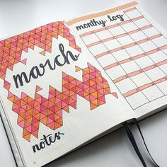 Really loving my colour scheme for March  (and yes I'm really annoyed I spelt monthly wrong) ▫️ ▪️ ▫️ ▪️ #bizzyb10doodles #bulletjournal #bullet #journal #bujo #drawing #doodle #doodles #leuchtturm1917 #tombow #2018 #march #geometric #shapes #triangles #tessellation #colour #orange #coral #peach #pink #titlepage #monthlylog