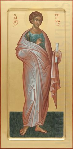 This icon of Holy Apostle Thomas is painted to order by skilled icon painters of St Elisabeth Convent using acrylic or tempera paints. See more about the icon of Saint Thomas Thomas The Apostle, St Thomas, Byzantine Art, Byzantine Icons, Religious Images, Religious Art, Joan D Arc, Orthodox Prayers, Mosaics