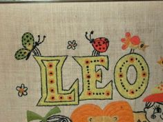 Leo-Zodiac-July-23-Aug-22-Vintage-Framed-Embroidery-Lion-Kids-Flowers